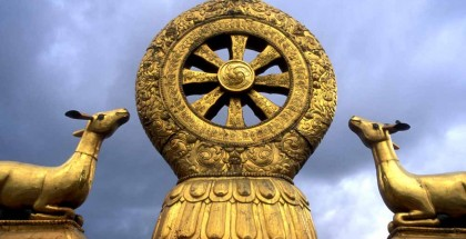Dharma wheel on the roof of the Jokhang Temple