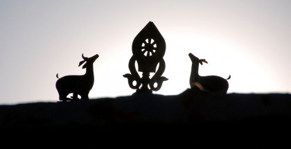 29 Deer And Dharma Wheel Above Old Zhongba Gompa Tibet At Sunset